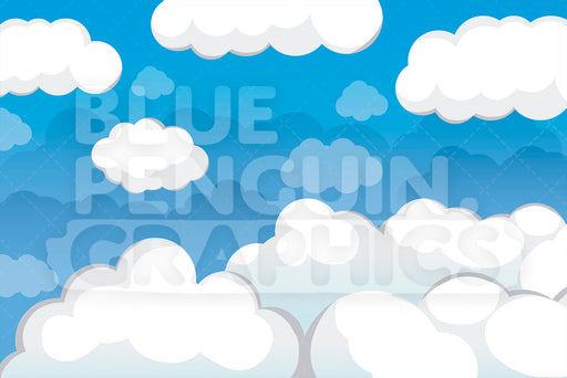 Blue Sky with White Clouds Graphic Background Clipart - Blue Penguin Graphics