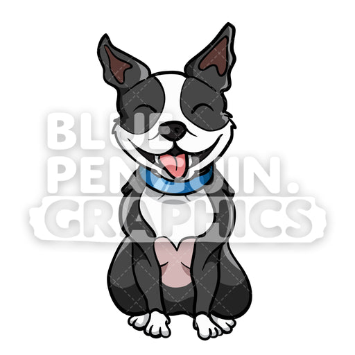 Boston Terrier Sitting Vector Cartoon Clipart Illustration - Blue Penguin Graphics