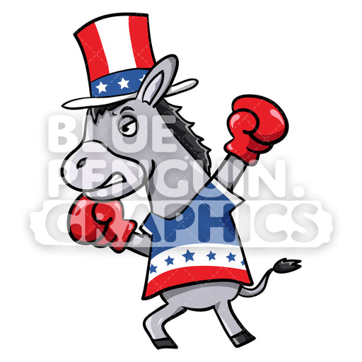 Boxing Democratic Party Donkey Vector Cartoon Clipart Illustration - Blue Penguin Graphics