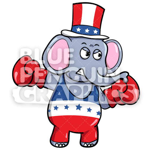 Boxing Republican Elephant Vector Cartoon Clipart Illustration - Blue Penguin Graphics