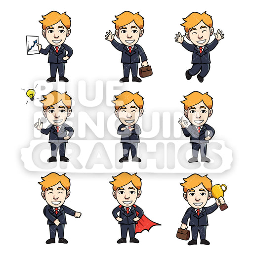 Businessmen Cartoon Characters Bundle Set 1 Vector Cartoon Clipart Illustration - Blue Penguin Graphics
