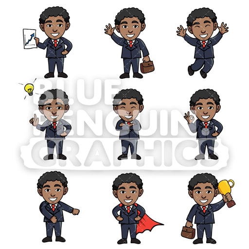 Businessmen Cartoon Characters Bundle Set 2 Vector Cartoon Clipart Illustration - Blue Penguin Graphics