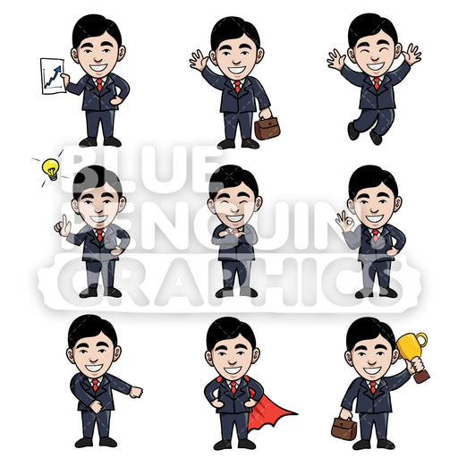 Businessmen Cartoon Characters Bundle Set 3 Vector Cartoon Clipart Illustration - Blue Penguin Graphics