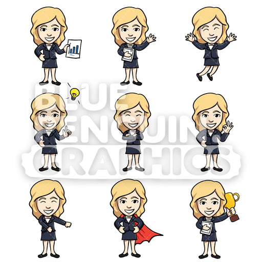 Businesswomen Cartoon Characters Bundle Set 1 Vector Cartoon Clipart Illustration - Blue Penguin Graphics