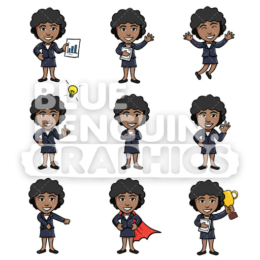 Businesswomen Cartoon Characters Bundle Set 2 Vector Cartoon Clipart Illustration - Blue Penguin Graphics