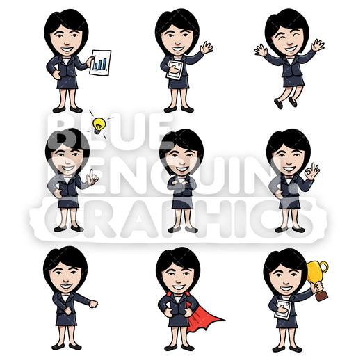 Businesswomen Cartoon Characters Bundle Set 3 Vector Cartoon Clipart Illustration - Blue Penguin Graphics