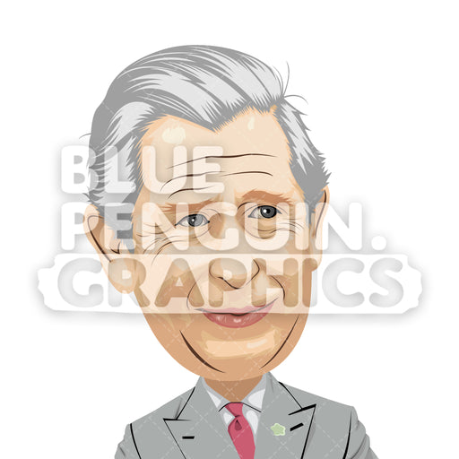 Prince of Wales Charles Vector Clipart Illustration - Blue Penguin Graphics