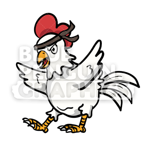Chicken Angry Vector Cartoon Clipart Illustration - Blue Penguin Graphics