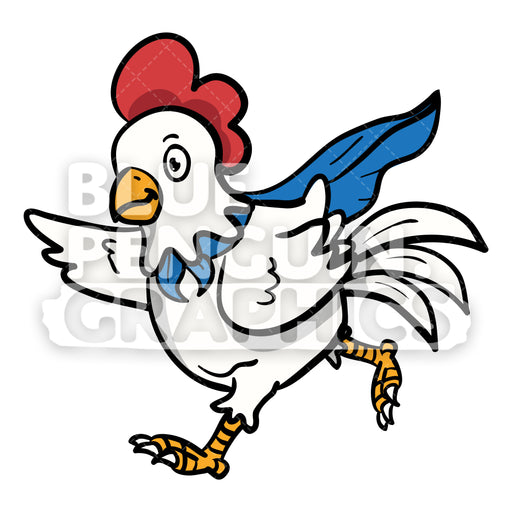 Chicken Hero with Superpower Vector Cartoon Clipart Illustration - Blue Penguin Graphics