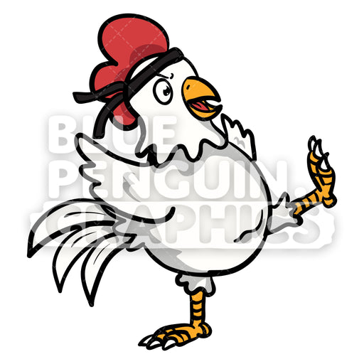 Chicken Karate Kick Vector Cartoon Clipart Illustration - Blue Penguin Graphics