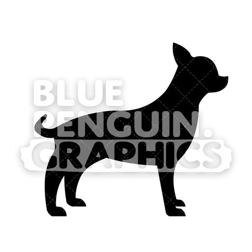 Chihuahua Silhouettes Vector Cartoon Clipart Illustration - Blue Penguin Graphics