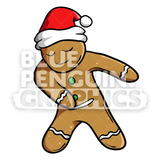 Christmas Gingerbread Man Cookie Floss Dance Vector Cartoon Clipart Illustration - Blue Penguin Graphics
