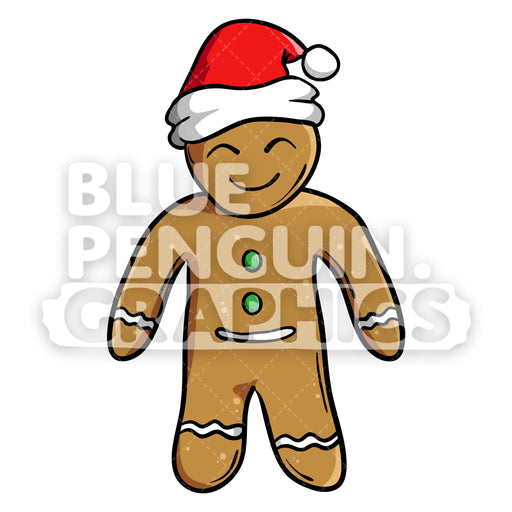 Christmas Gingerbread Man Cookie Standing Vector Cartoon Clipart Illustration - Blue Penguin Graphics