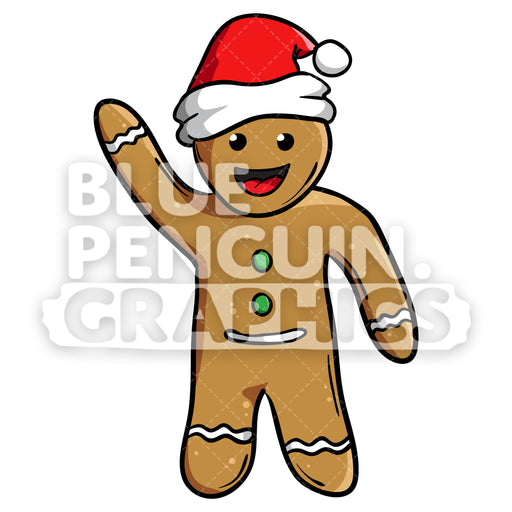 Christmas Gingerbread Man Cookie Waving Vector Cartoon Clipart Illustration - Blue Penguin Graphics