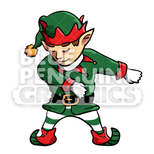 Christmas Elf Floss Dance Vector Cartoon Clipart Illustration - Blue Penguin Graphics