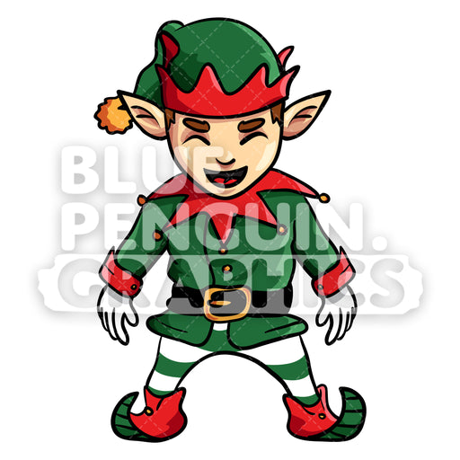 Christmas Elf Standing Vector Cartoon Clipart Illustration - Blue Penguin Graphics