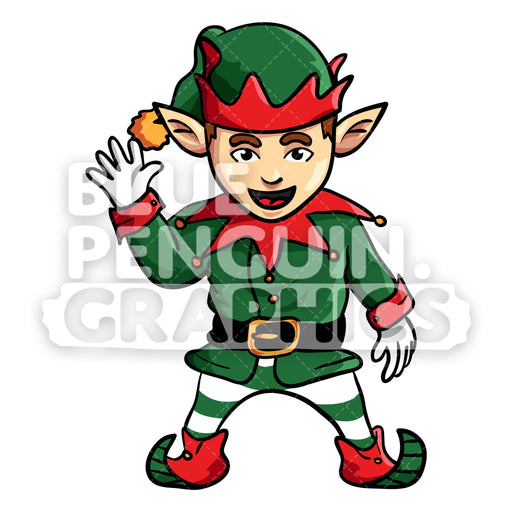 Christmas Elf Waving Vector Cartoon Clipart Illustration - Blue Penguin Graphics