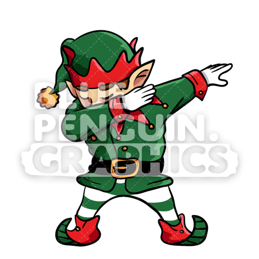 Christmas Elf Dabbing Christmas Vector Cartoon Clipart Illustration - Blue Penguin Graphics