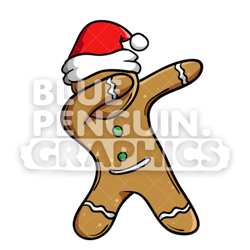 Christmas Gingerbread Man Cookie Dabbing Vector Cartoon Clipart Illustration - Blue Penguin Graphics