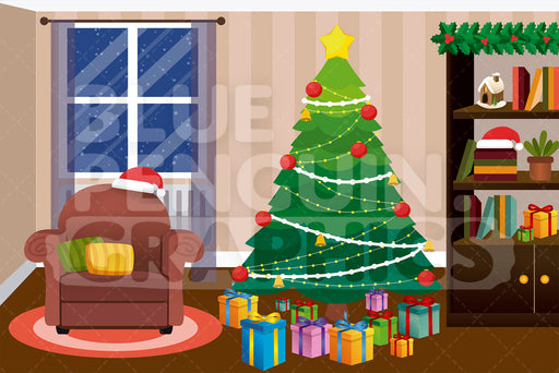 Christmas Tree with Gifts Graphic Background Clipart - Blue Penguin Graphics