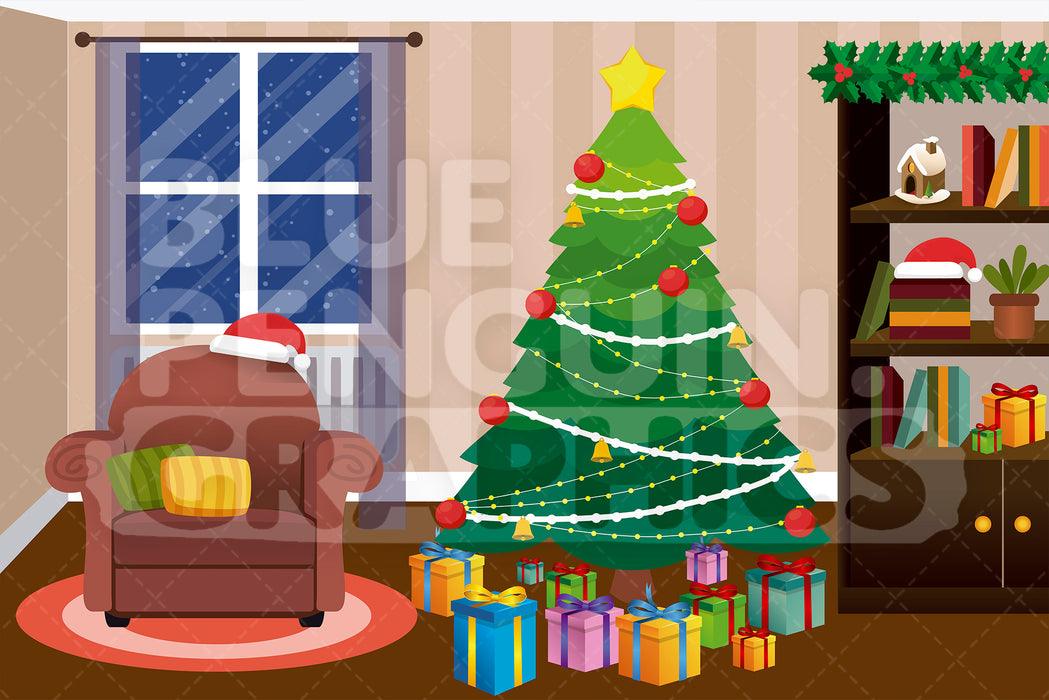 Christmas Trees Background Clipart.Christmas Tree With Gifts Graphic Background Clipart