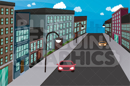 City Street With Cars Graphic Background Clipart - Blue Penguin Graphics