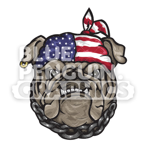 Cool Bulldog Head with USA Flag Headband Vector Cartoon Clipart Illustration - Blue Penguin Graphics