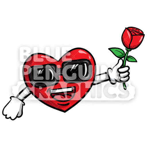 Cool Heart Bring Rose Flower Vector Cartoon Clipart Illustration - Blue Penguin Graphics