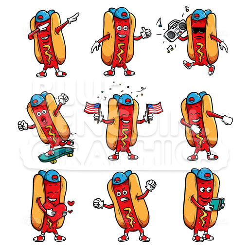 Cool Hot Dog Bundle Set Vector Cartoon Clipart - Blue Penguin Graphics