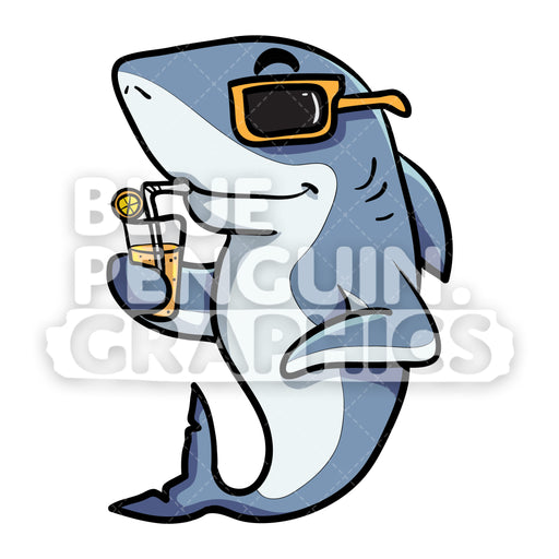 Cool Shark Drinking Orange Juice Vector Cartoon Clipart - Blue Penguin Graphics