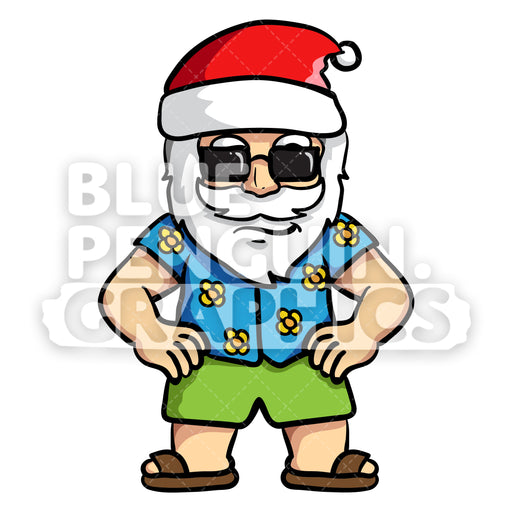 Cool Summer Santa Claus Wearing Black Sunglasses Vector Cartoon Clipart - Blue Penguin Graphics