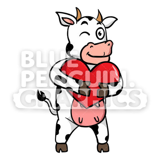 Cow Bringing a Red Heart Vector Cartoon Clipart Illustration - Blue Penguin Graphics