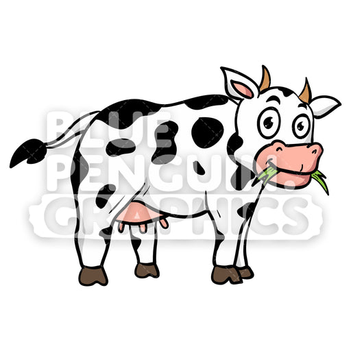 Cow Eating Grass Vector Cartoon Clipart Illustration - Blue Penguin Graphics