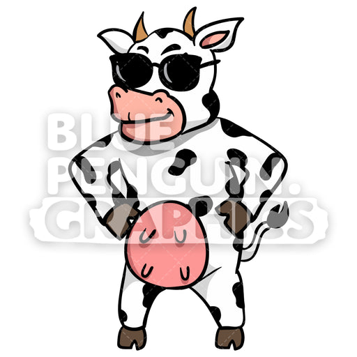 Cow with Black Sunglass Vector Cartoon Clipart Illustration - Blue Penguin Graphics
