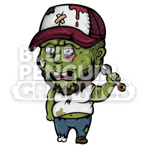 Scary Mechanic Zombie Vector Cartoon Clipart - Blue Penguin Graphics
