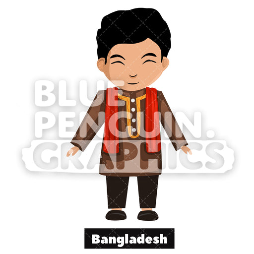 Bangladeshi Boy with Traditional Costume from Bangladesh Vector Cartoon Clipart - Blue Penguin Graphics