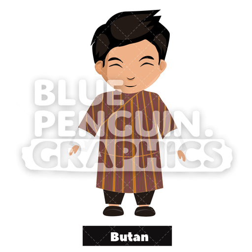 Bhutanese Boy with Traditional Costume from Butan Vector Cartoon Clipart - Blue Penguin Graphics