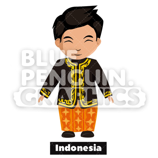 Indonesian Boy with Traditional Costume from Indonesia Vector Cartoon Clipart - Blue Penguin Graphics