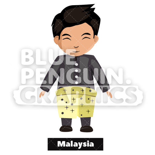 Malaysian Boy with Traditional Costume from Malaysia Vector Cartoon Clipart - Blue Penguin Graphics