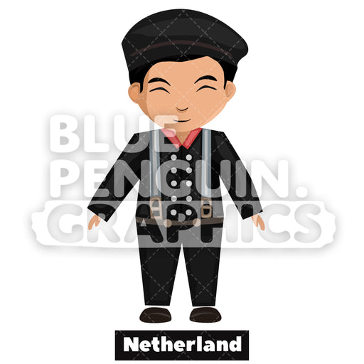 Dutch Boy with Traditional Costume from Netherland Vector Cartoon Clipart - Blue Penguin Graphics