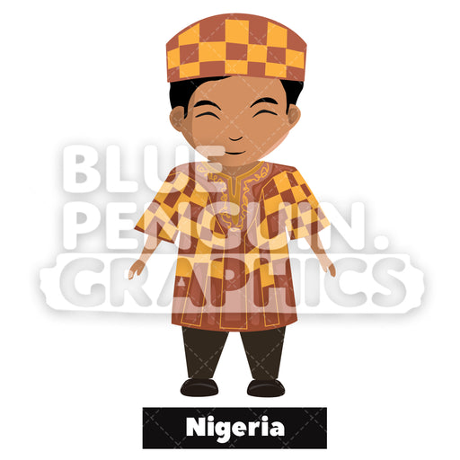 Cute Boy with Traditional Costume from Nigeria Vector Cartoon Clipart - Blue Penguin Graphics