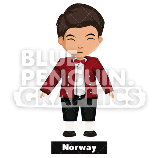 Cute Boy with Traditional Costume from Norway Vector Cartoon Clipart - Blue Penguin Graphics