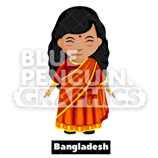 Cute Girl with Traditional Costume from Bangladesh Vector Cartoon Clipart - Blue Penguin Graphics