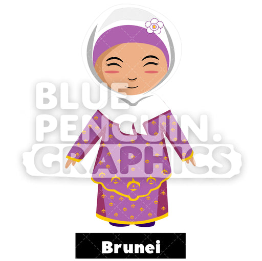 Cute Girl with Traditional Costume from Brunei Vector Cartoon Clipart Illustration - Blue Penguin Graphics