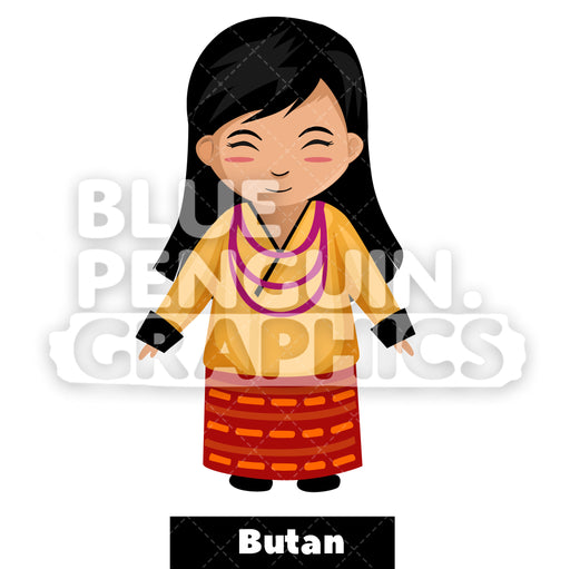 Cute Girl with Traditional Costume from Butan Vector Cartoon Clipart Illustration - Blue Penguin Graphics