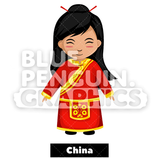 Cute Girl with Traditional Costume from China Vector Cartoon Clipart Illustration - Blue Penguin Graphics