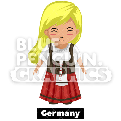 Cute Girl with Traditional Costume from Germany Vector Cartoon Clipart - Blue Penguin Graphics