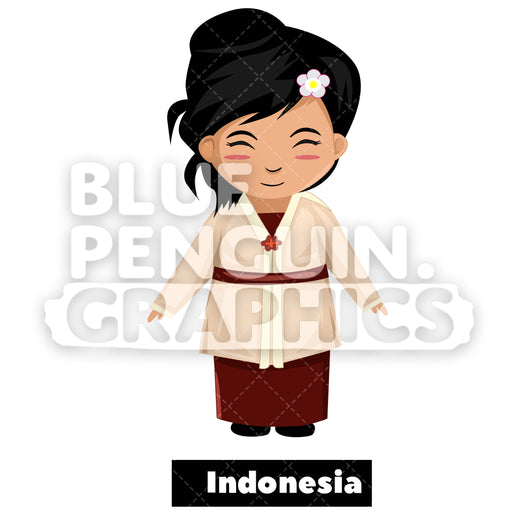 Cute Girl with Traditional Costume from Indonesia Vector Cartoon Clipart Illustration - Blue Penguin Graphics