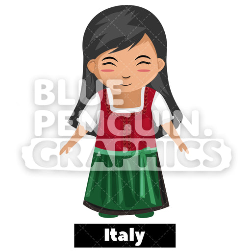 Cute Girl with Traditional Costume from Italy Vector Cartoon Clipart - Blue Penguin Graphics
