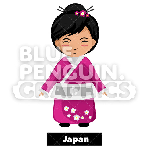 Cute Girl with Traditional Costume from Japan Vector Cartoon Clipart Illustration - Blue Penguin Graphics
